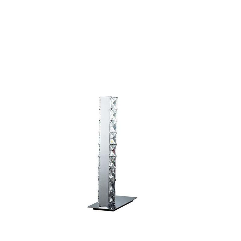 Table Lamp Led Polished Chrome/Crystal - Bedroom/Living Room Decor