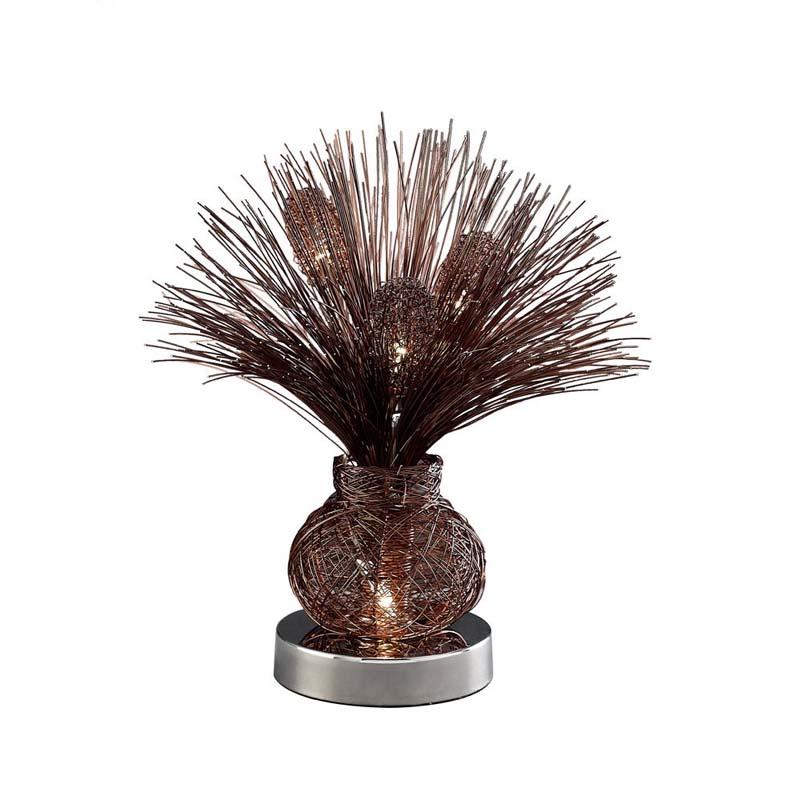 Table Lamp 4 Light Brown/Polished Chrome Base/Sleek Wire Strands