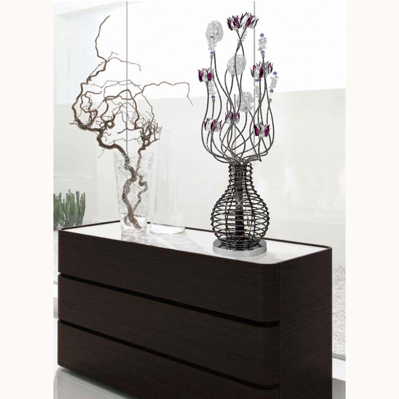 Modern Design Table Lamp 5 Light Black/Purple/Chrome/Crystal