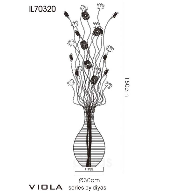 Viola Floor Lamp 7 Light Black/Purple/Chrome/Crystal