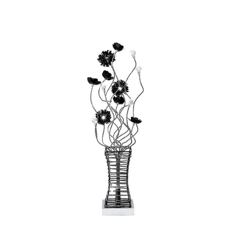Table Lamp 4 Light Polished Chrome/Crystal - Stunning Black Finish