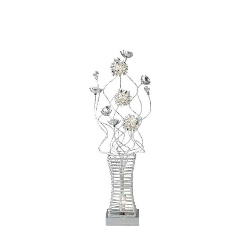 Designer Table Lamp 4 Light Polished Chrome/Silver Finish Crystal