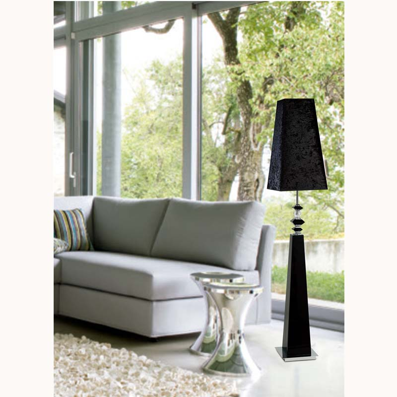 Galata Floor Lamp 1 Light Black/Crystal/Polished Chrome