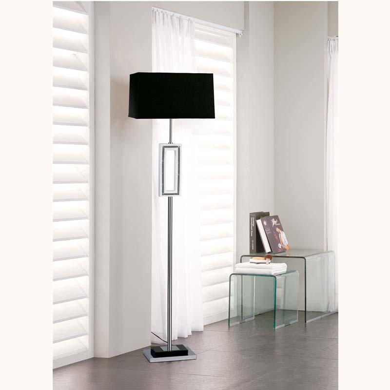 Linea Floor Lamp 1 Light Polished Chrome/Black/Crystal/White