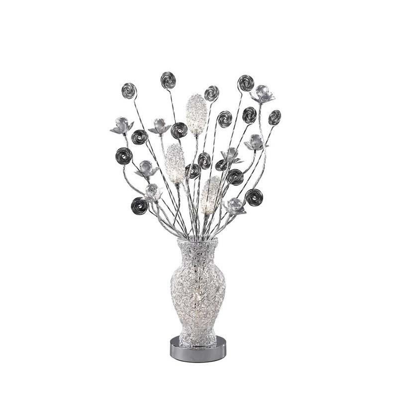 Nevada 4 Light Aluminium/Black Table Lamp - Flower Base/Metallic Twirls