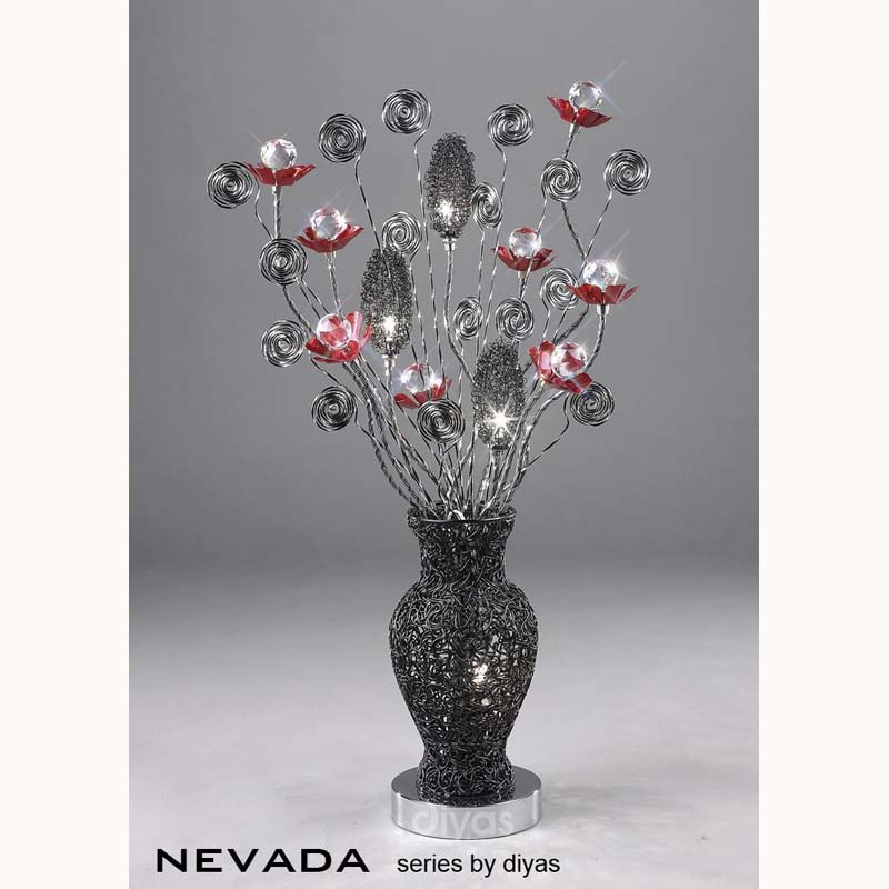 Nevada 4 Light Black/Red Slender Base Table Lamp - High Quality