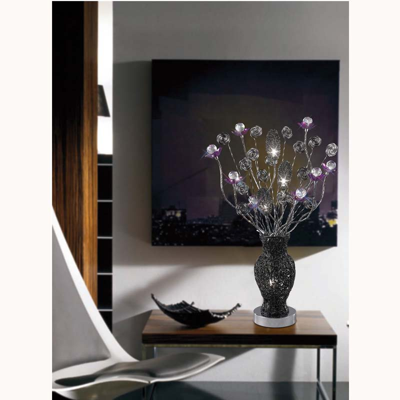 4 Light Black/Purple Table Lamp For Sparkle Decor/Slender Base
