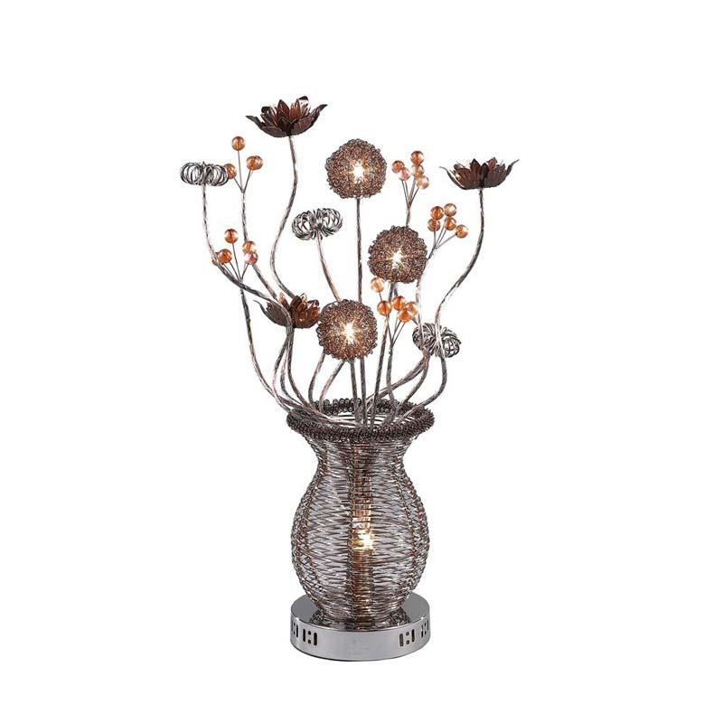 Designer Base 4 Light Brown Table Lamp - Living Room/Bedroom Light