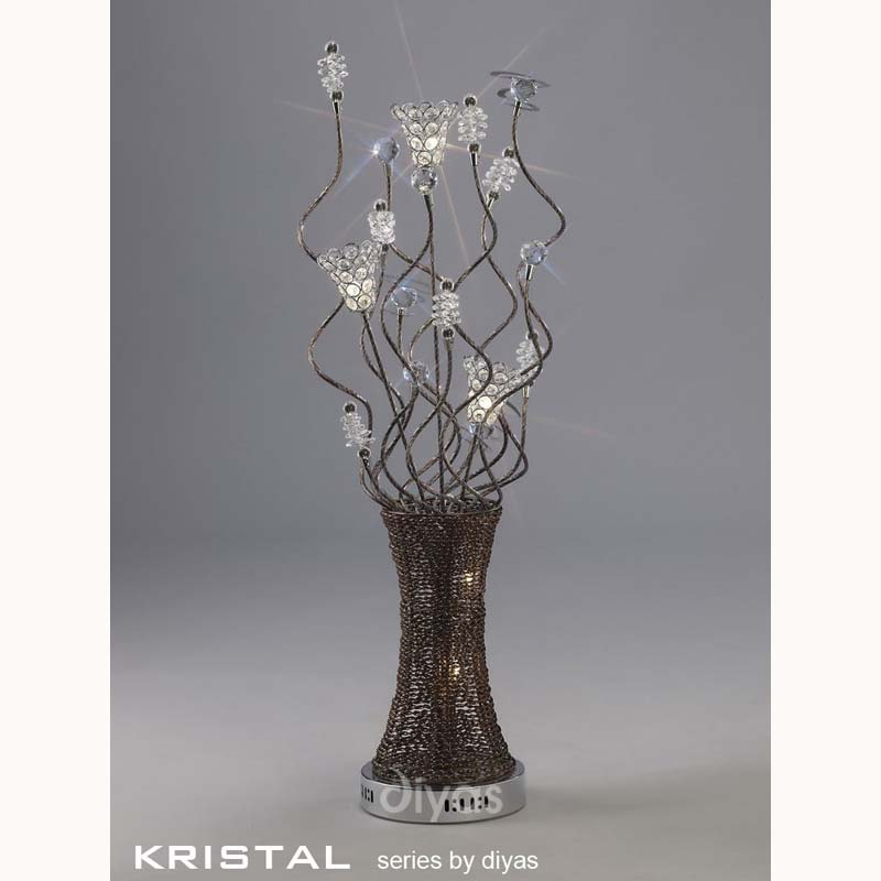 Decorative 5 Light Table Lamp Polished Chrome/Coffee/Silver/Crystal