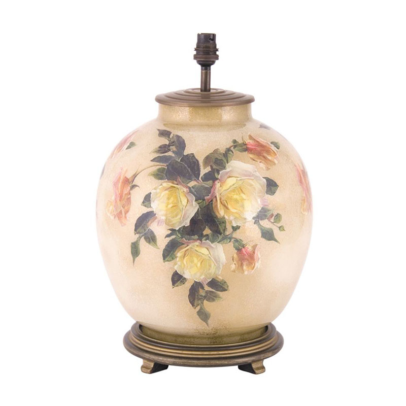 Decorated Large Round Lamp Base Only Classic Rose Design
