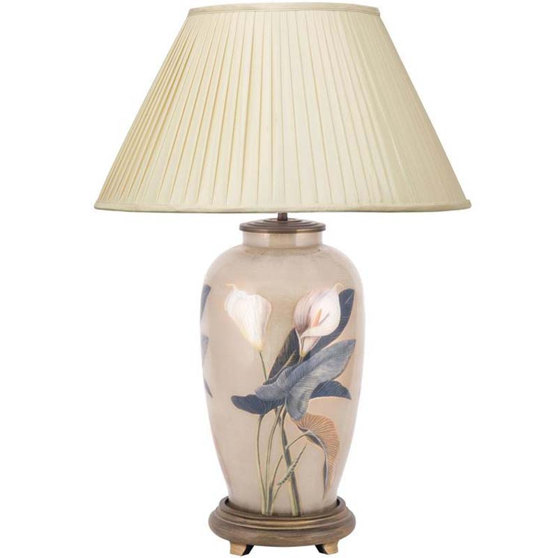 Arum Lilly Tall Urn Base Only Decorated Glass Lamp