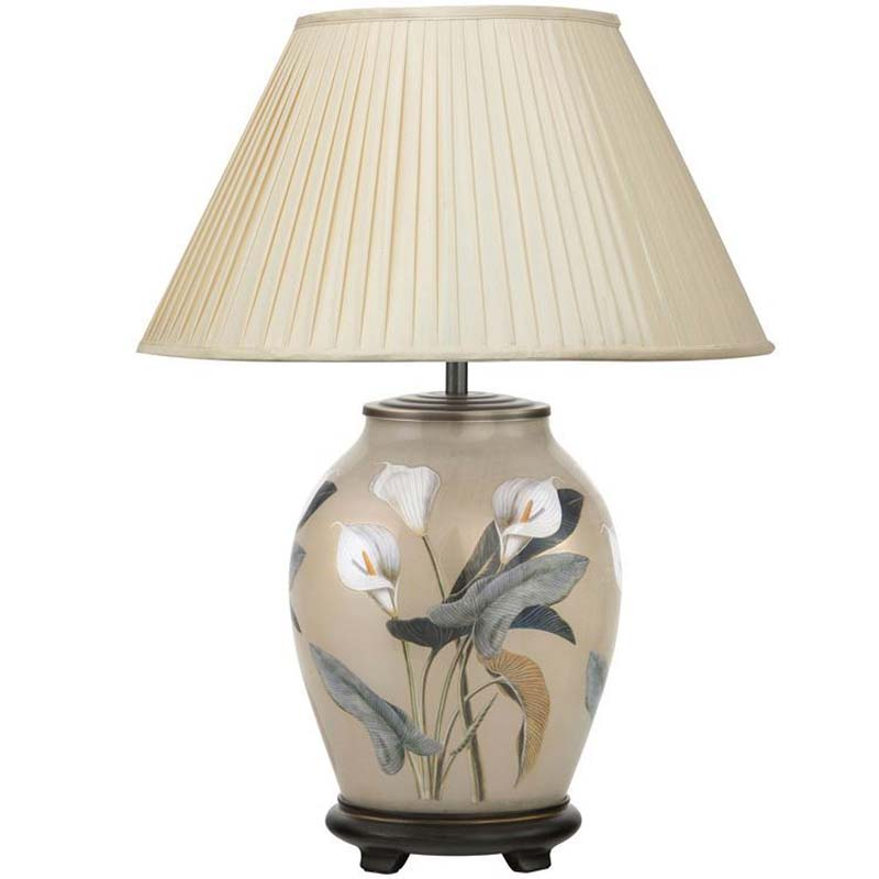 Arum Lilly Medium Oval Base Only Decorated Glass Lamp