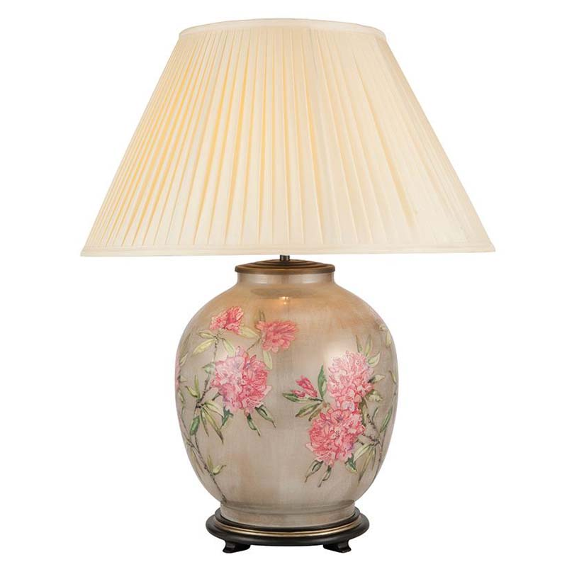 Flowers On Large Round Table Lamp
