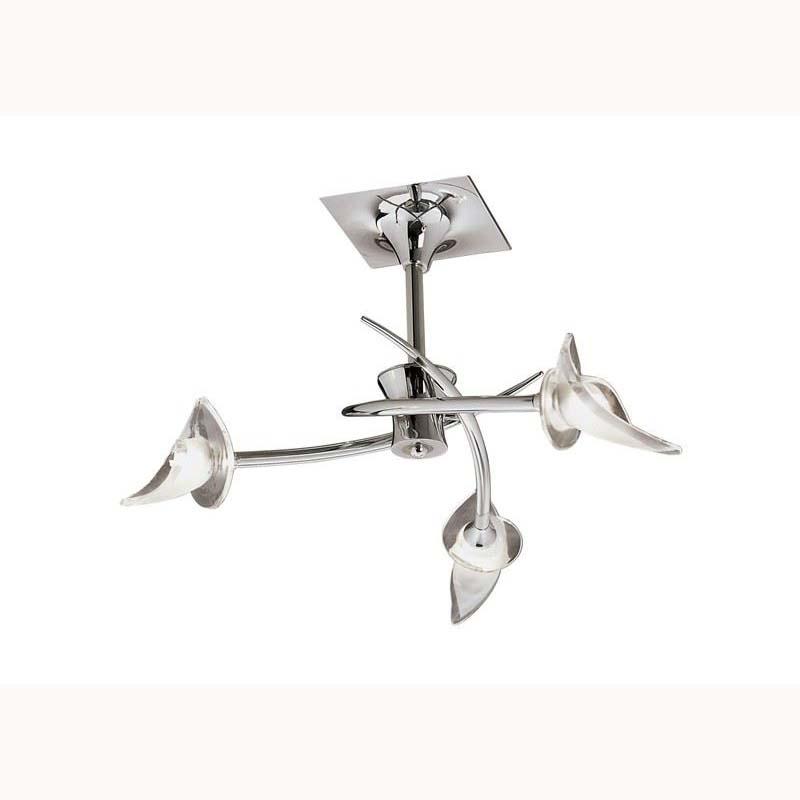 Flavia semi ceiling 3 light round antique brass