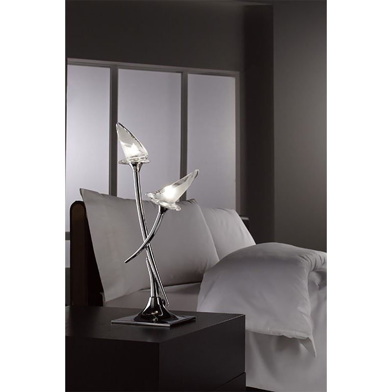 Flavia Table Lamp 2 Light Polished Chrome - Modern Style Bedroom Decor