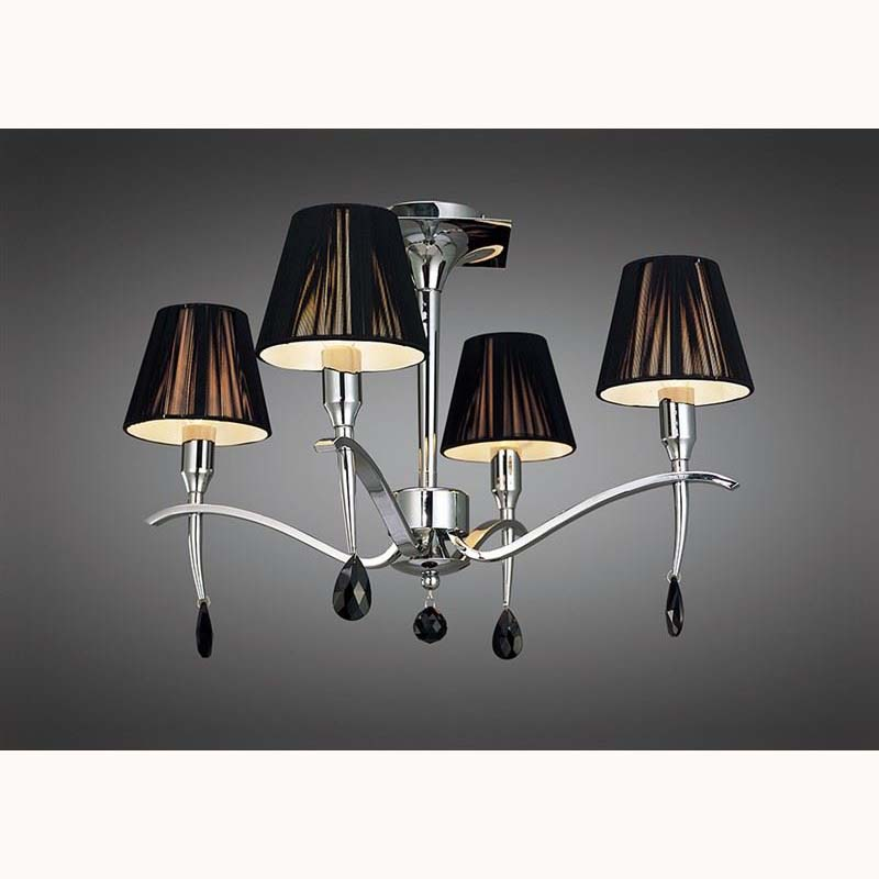 Polished Chrome 4 Light Ceiling Chandelier With Black Silk Shade