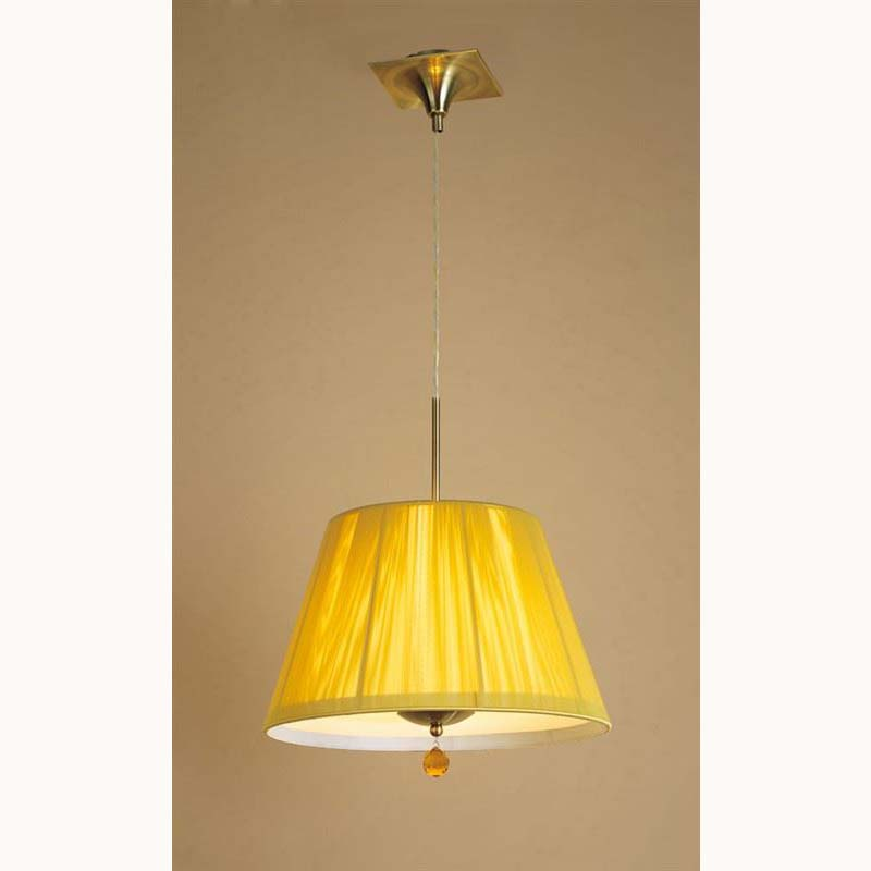 Pendant 3 Light Antique Brass With Amber Silk String Shade