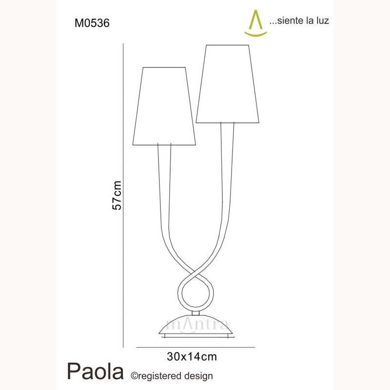Paola Table Lamp 2 Light Silver Leaf - Classic/High Quality Shade