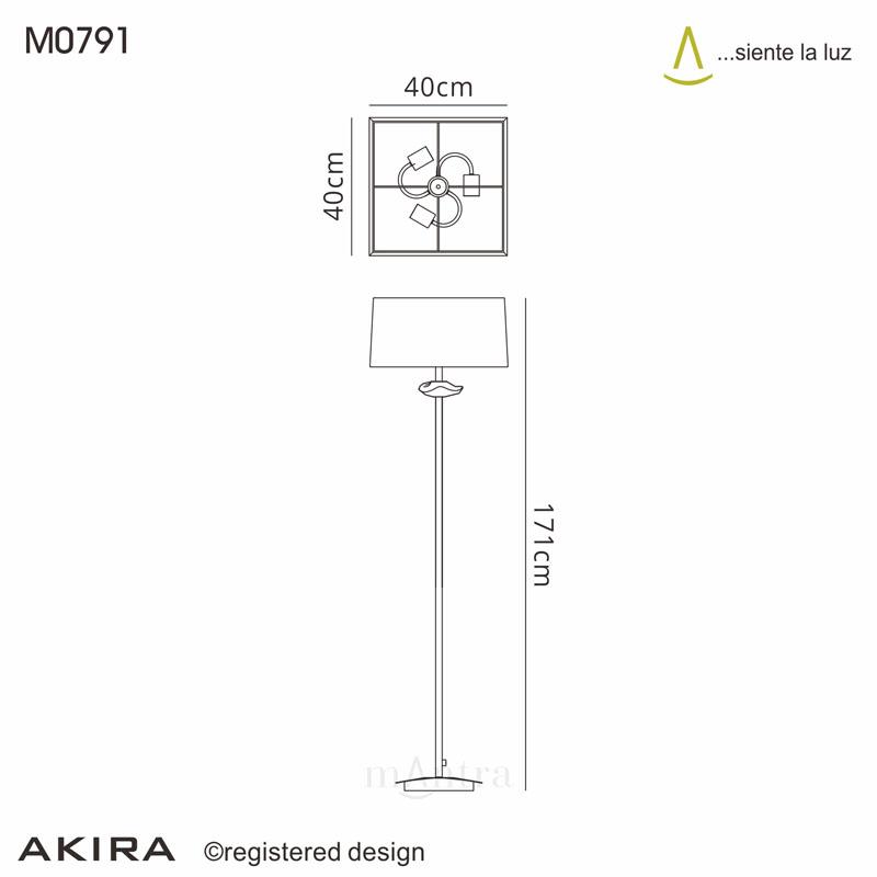Akira Floor 3 Light Polished Chrome With Black Shade