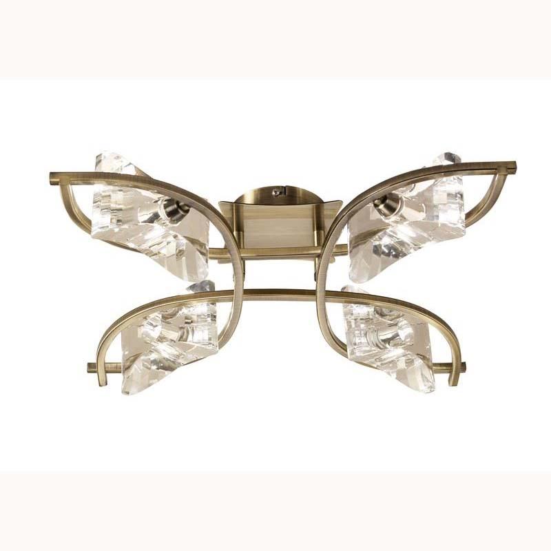 Chromo 4 Light Antique Brass Ceiling Semi Flush Light
