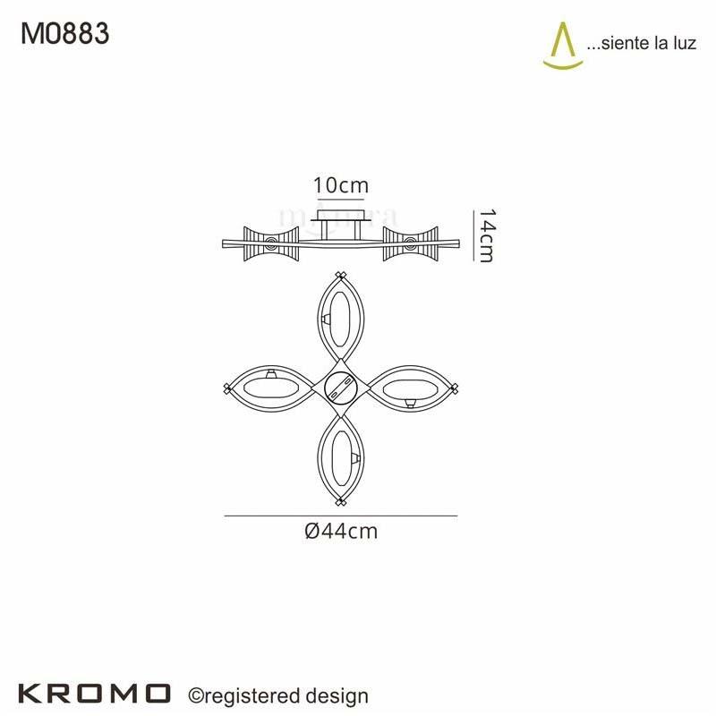 Kromo ceiling Semi Flush 4 Light Polished Chrome