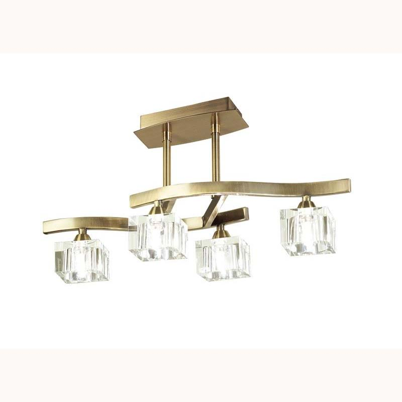 Cuadrax semi ceiling 4 light antique brass
