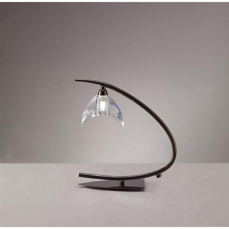 Designer Table Lamp 1 Light Black Chrome - Stunning Glass Design