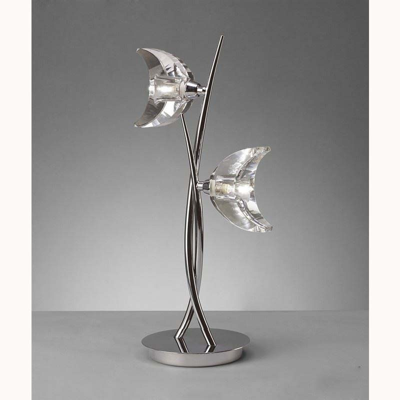 Modern 2 Light Table Lamp Polished Chrome Finish - Crystal Glass Design