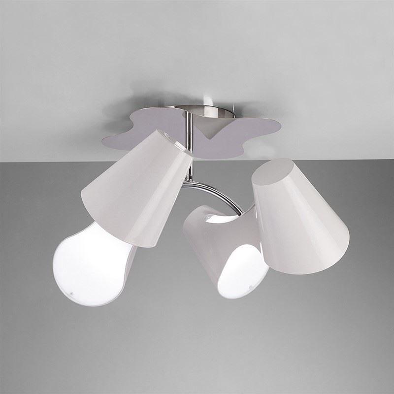 Ora Ceiling Semi Flush 4 Light Polished Chrome/White