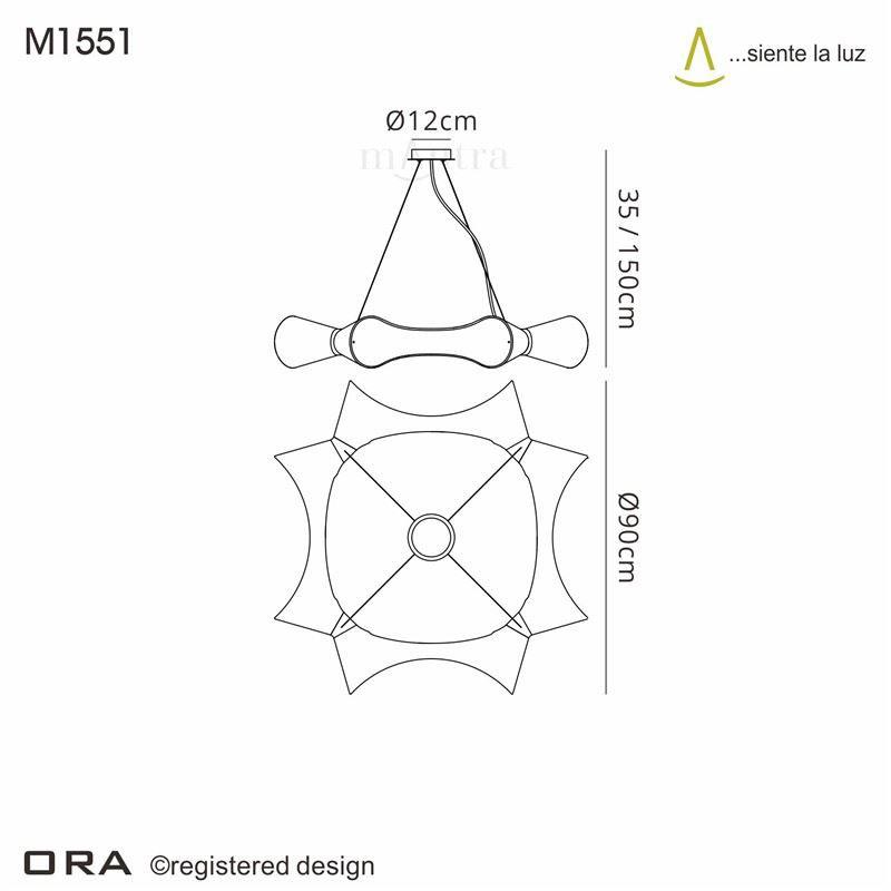 Ora Pendant 8 Light Round Polished Chrome/Black