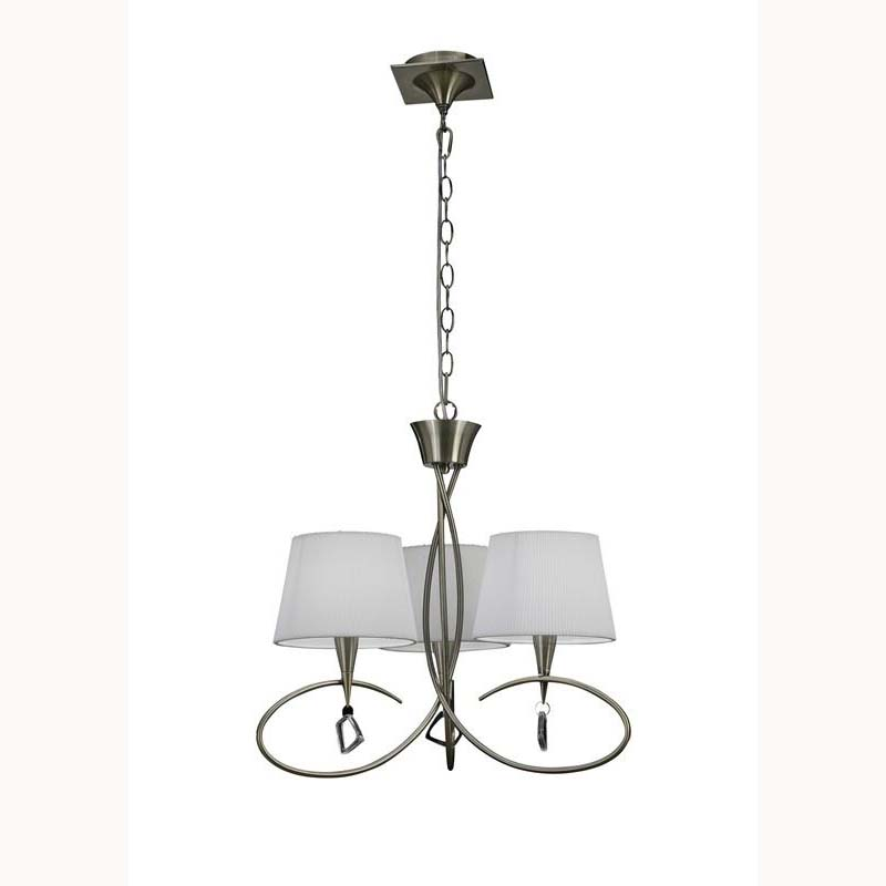 Mara Pendant 3 Light Antique Brass/Cream