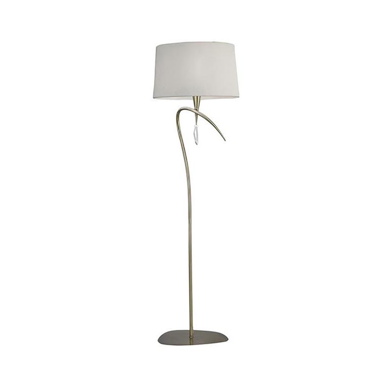 Mara Floor Lamp 1 Light Antique Brass/Cream