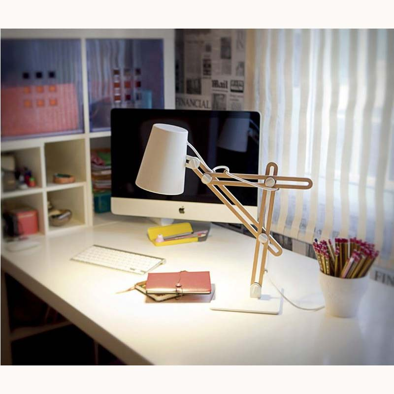 Stylish Table Lamp 1 Light White/Beech - Funky Design/Portable