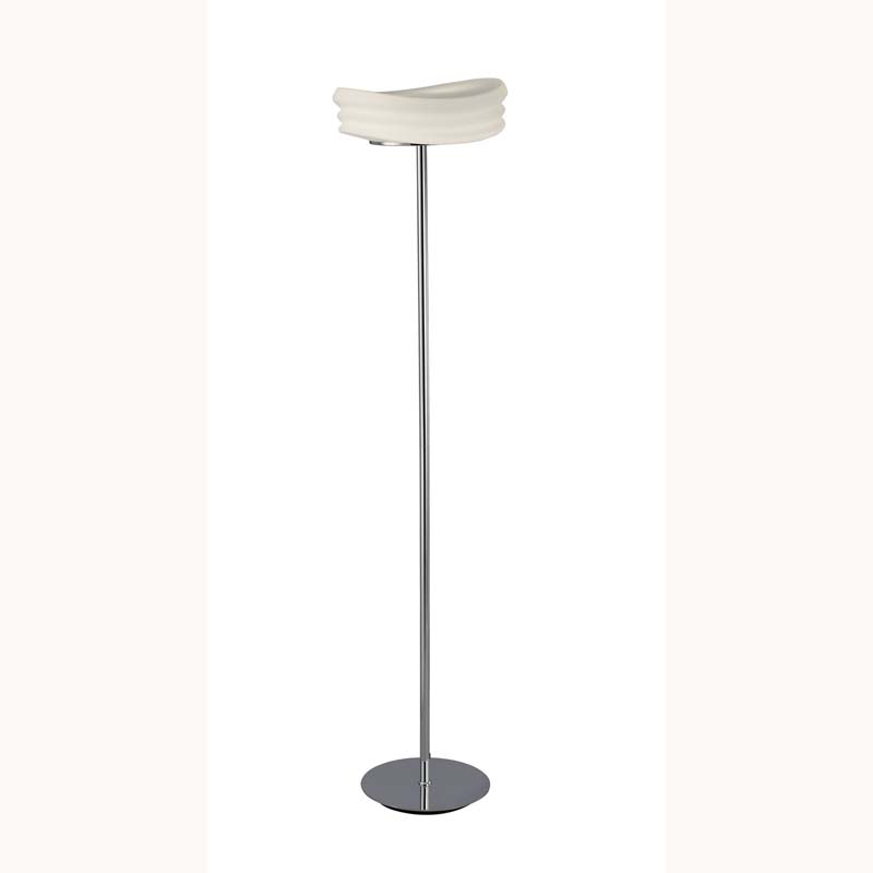 Mediterranean Floor Lamp 2 Light Chrome/Opal