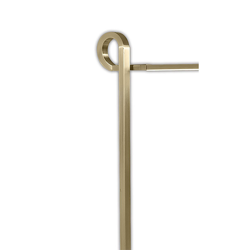 Elegant Antique Brass Floor Lamp With Looped Arm, Dimmable - Living Room Decor