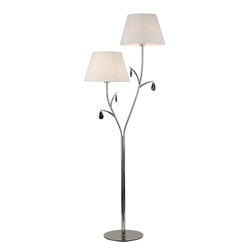 Modern 2 Light Polished Chrome Floor Lamp, White Shades, Black Crystal Droplets