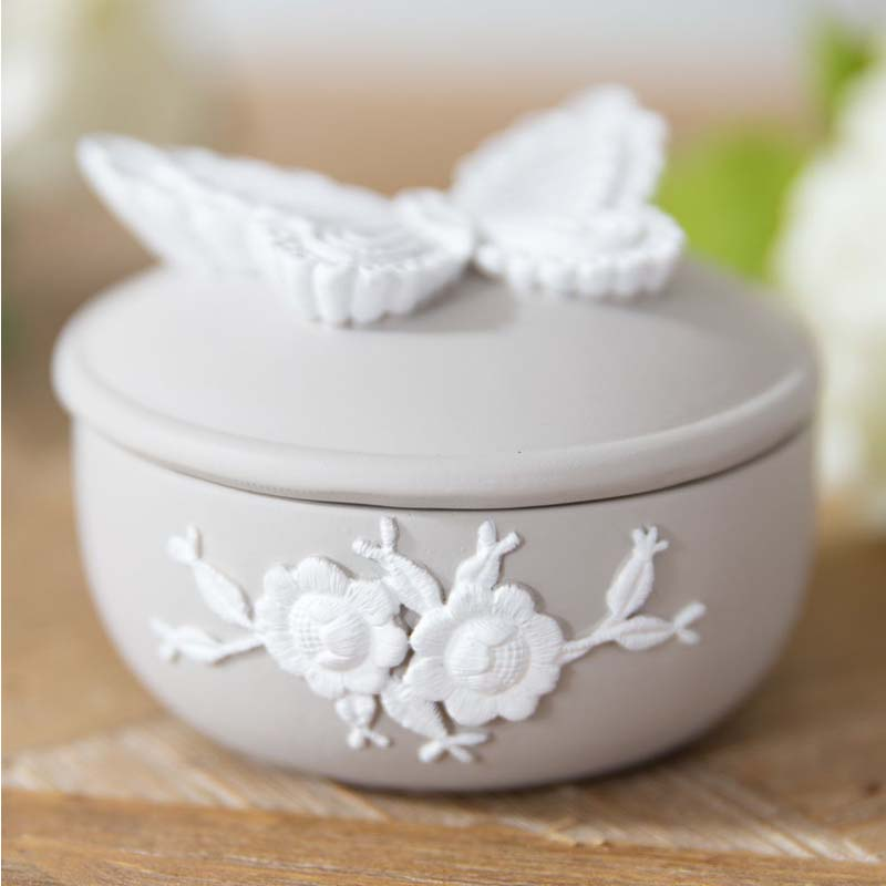 Resin Embroidered Style Grey & White Trinket Box