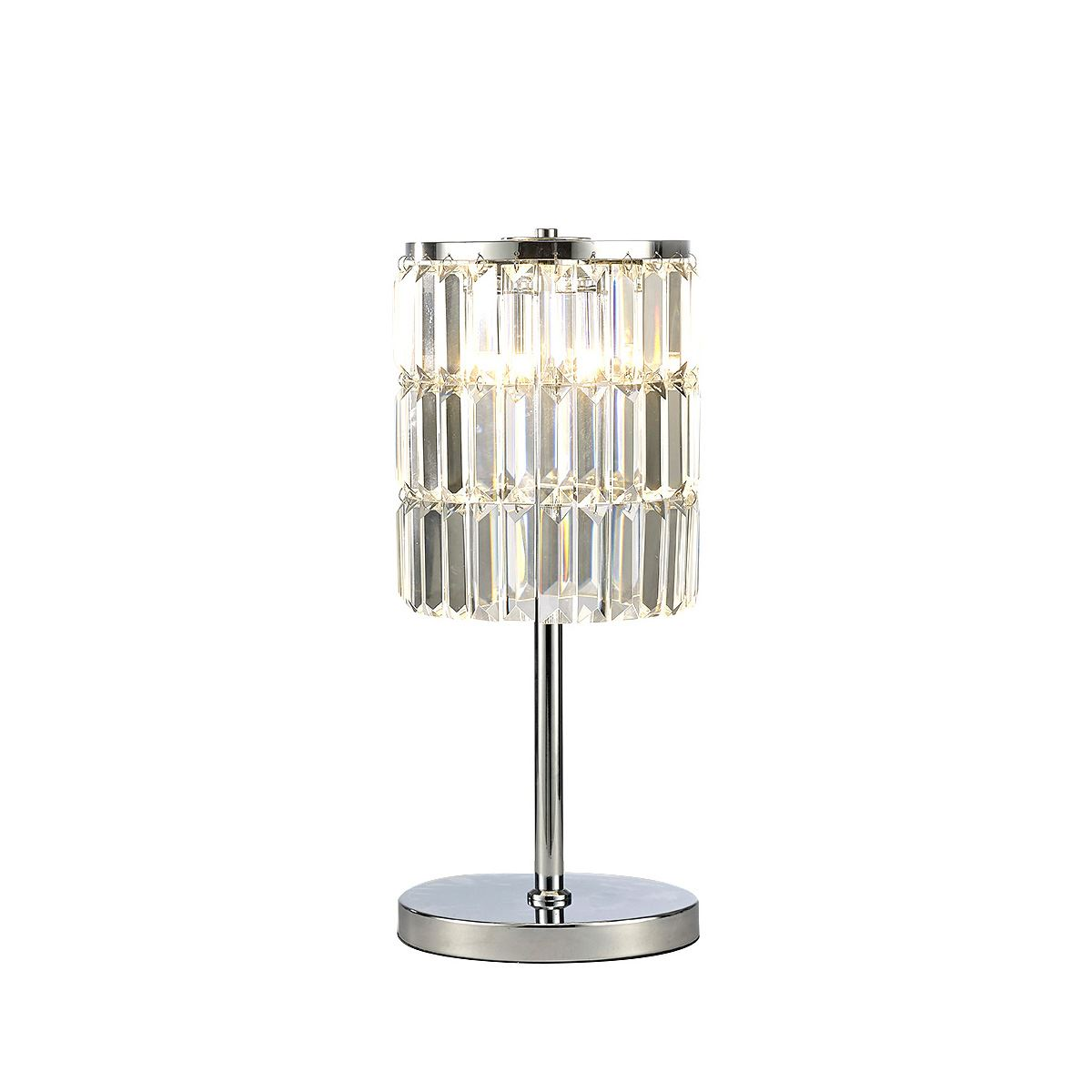 Diyas IL30178 Torre Crystal Curtain Table Lamp 3 Light Polished Chrome