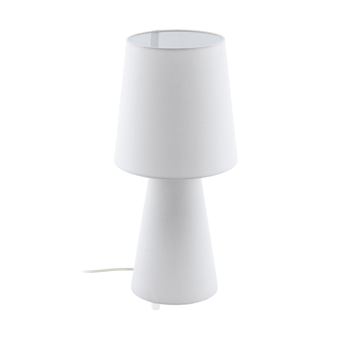 White Fabric Table Lamp With Shade For Bedside Table, In Line Switch