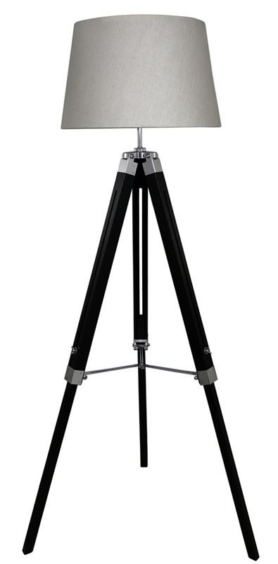 Hollywood Black Wooden Tripod Tall Floor Lamp With Natural Linen 17Inch Shade