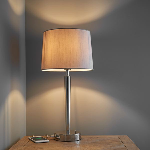Syon Bright Nickel Table Lamp & USB Port With Mink Faux Silk Shade