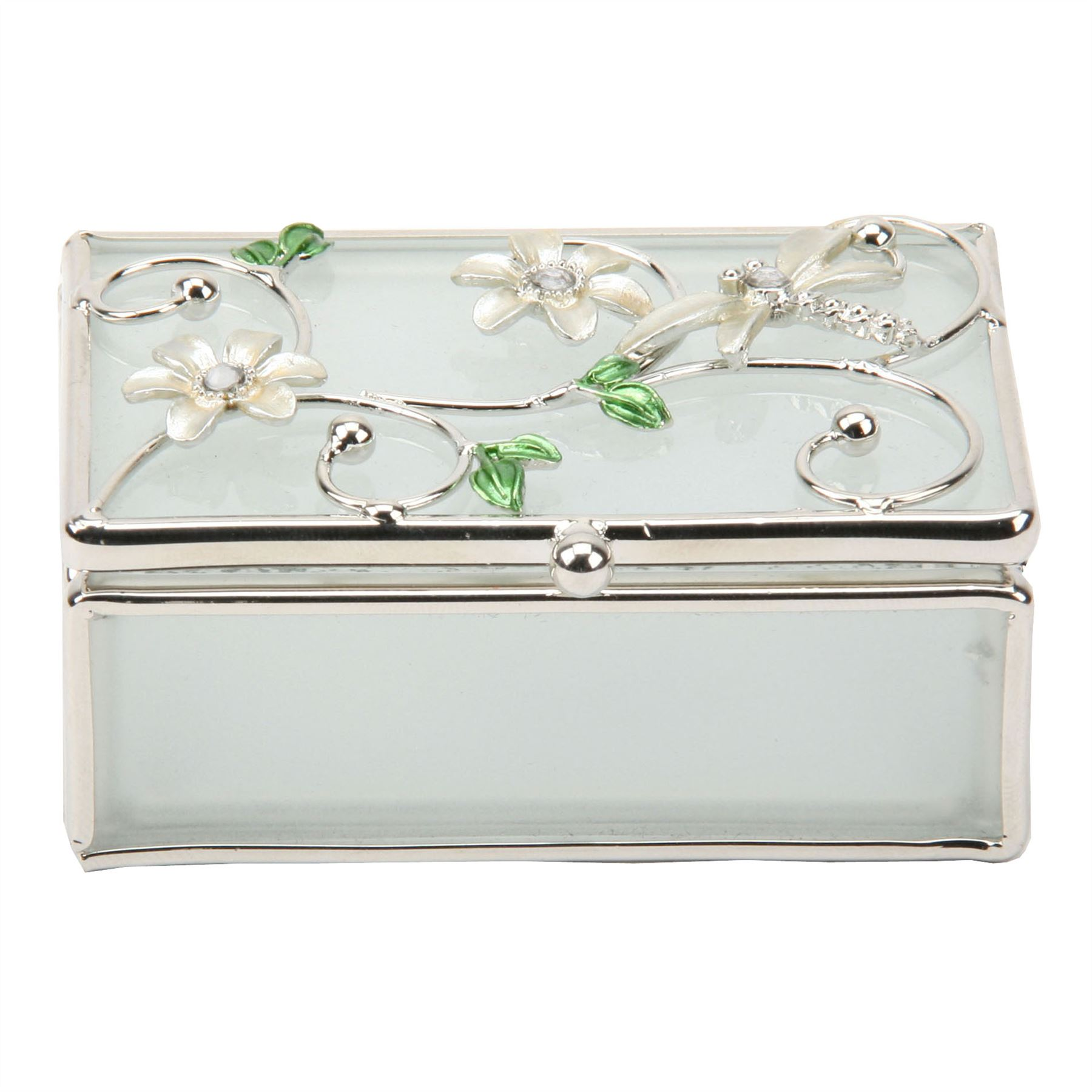 Sophia Glass & Wire Oblong Trinket Box With Dragonfly Ivory