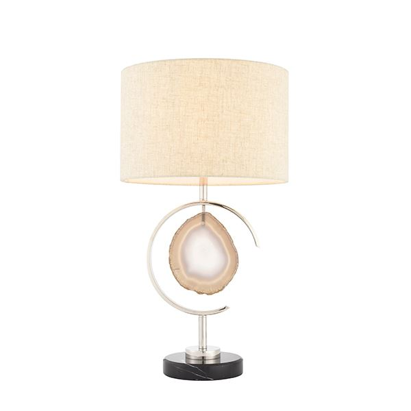 Polished Nickel Plate & Agate Stone Table Lamp 40W For Home Decor