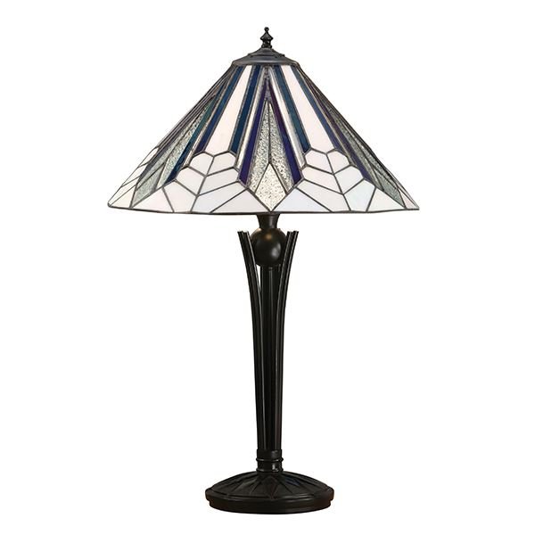 Astoria Medium Polyresin Table Lamp With Black & White Glass Shade