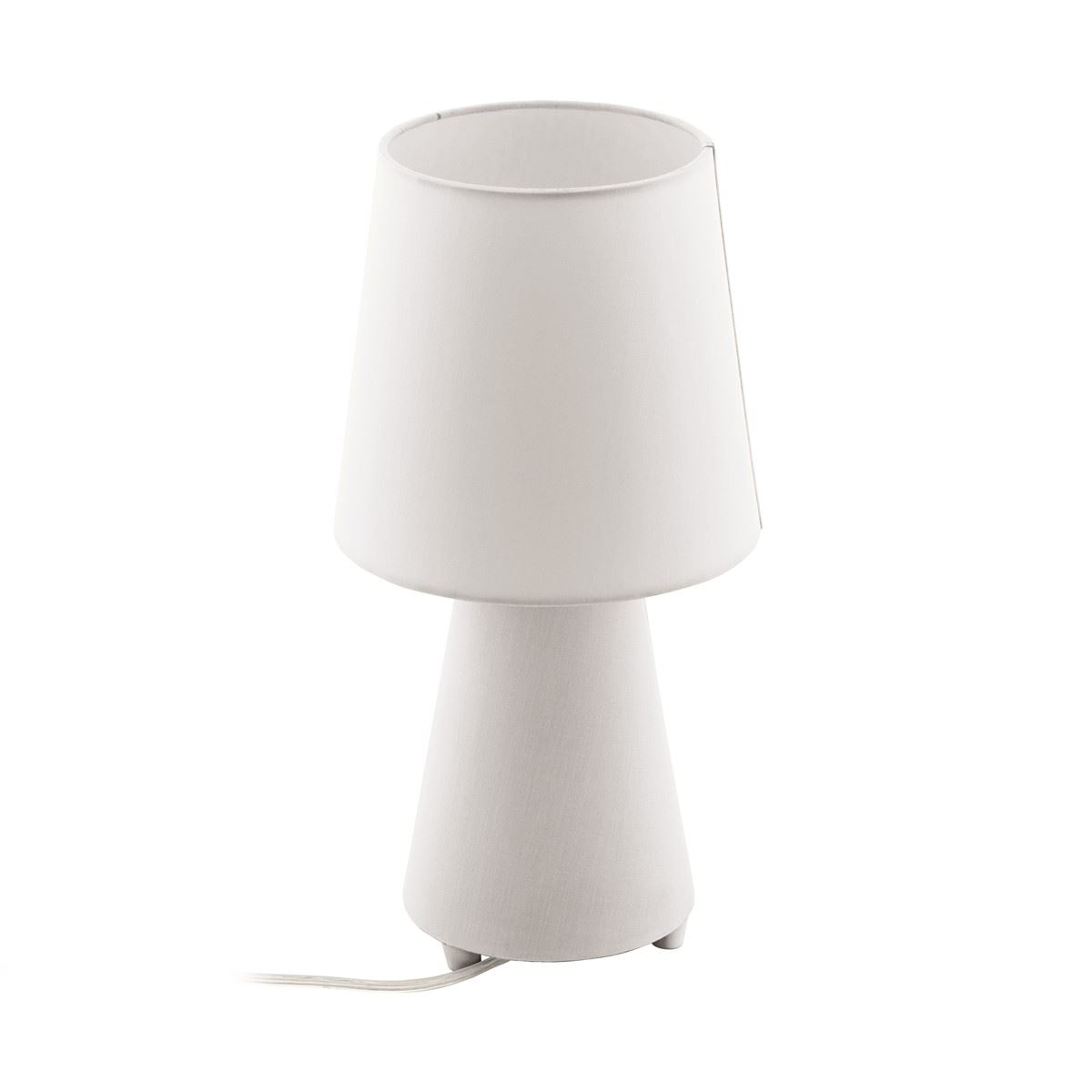 White Fabric Table Lamp With Shade For Bedside Table