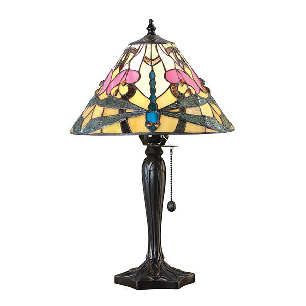 Ashton Tiffany Small Table Lamp With Floral Design Glass Shade 60W