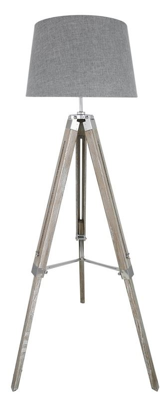 Grey Hollywood Tripod Floor Lamp With 17inch Grey Linen Empire Lamp Shade