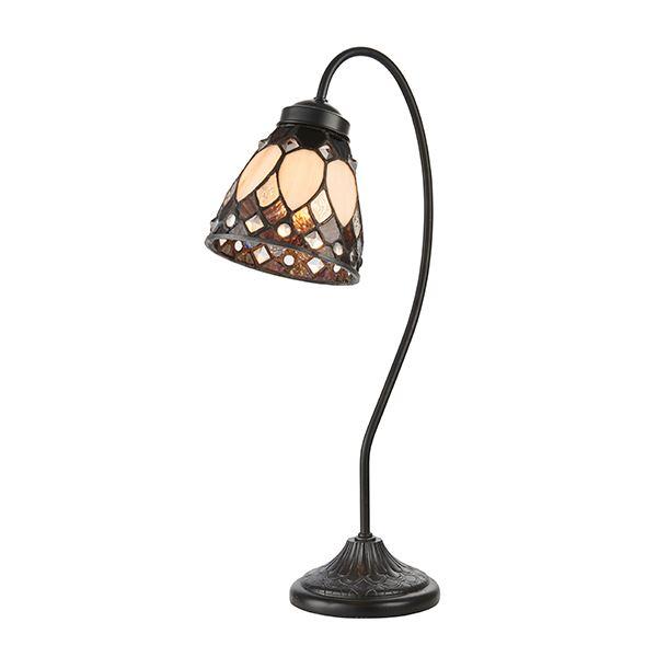 Brooklyn Tiffany Swan Neck Steel Table Lamp 40W