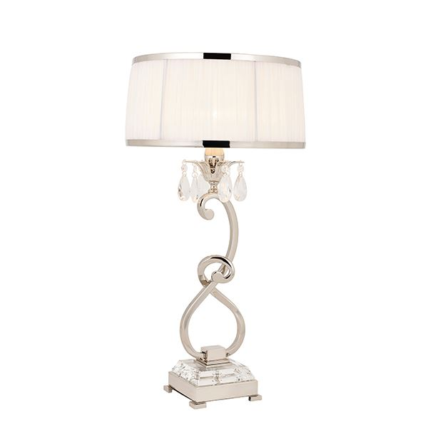 Oksana Nickel Medium Table Lamp With White Shade 40W