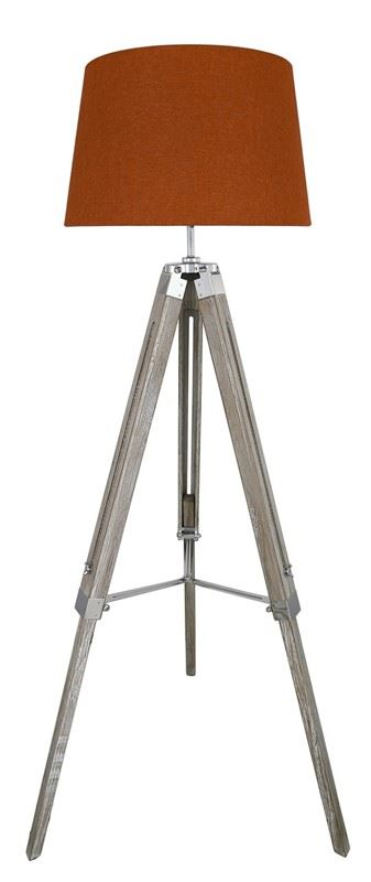 Grey Wood Hollywood Tripod Tripod Tall Floor Lamp with Terracotta Shade Lounge Lighting Livingroom